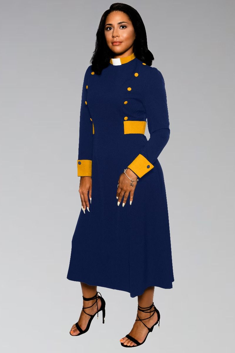 Navy Blue and Gold Clergy Dress