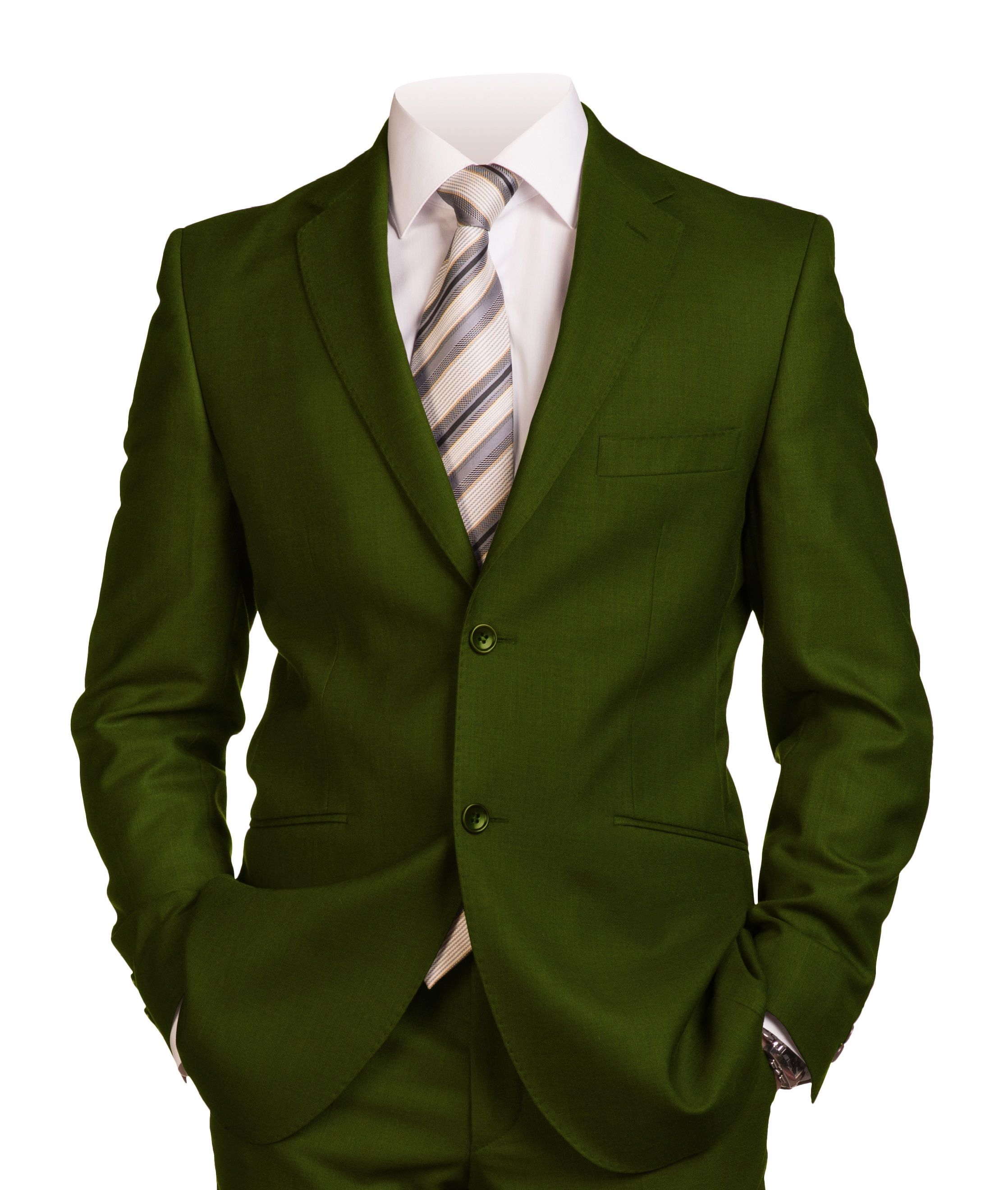 Men's Italian-Style Single-Breasted Suit - Olive *BOGO FREE Sale*