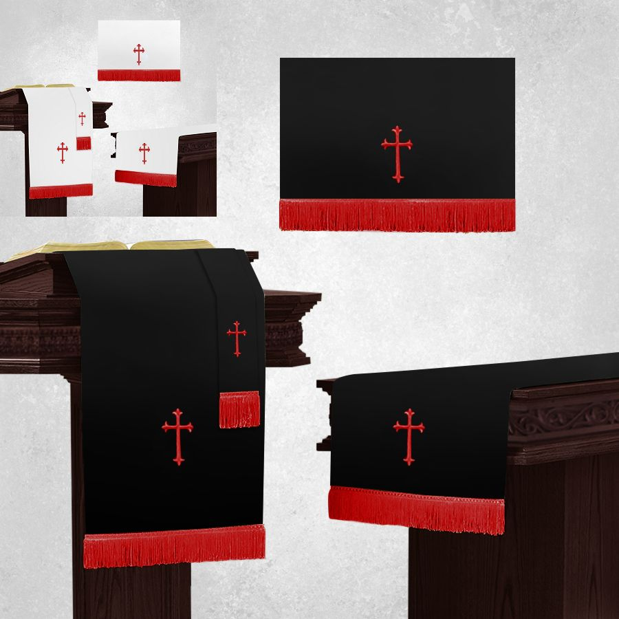 White and Black Communion Parament Set for Altar with Red Crosses
