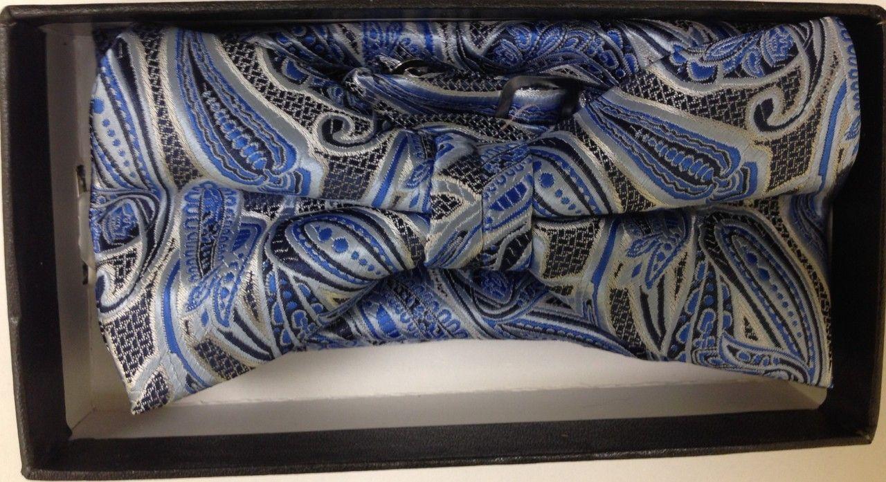 Men's Fancy Stroke Bow Tie + Hanky - Blue