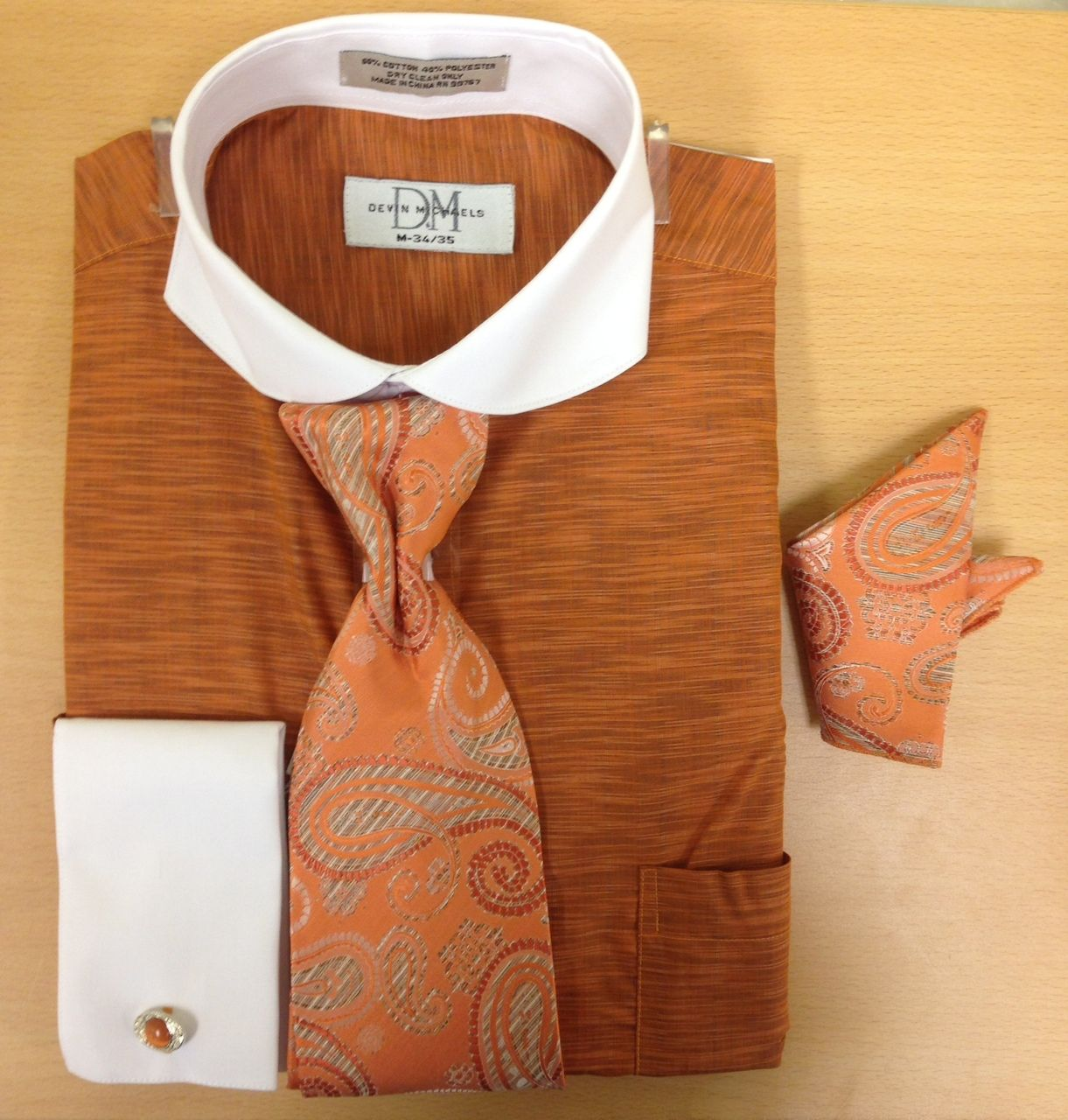 Men's Fashion Light Zigzag Pattern Cufflink Dress Shirt Set - Orange/Cognac