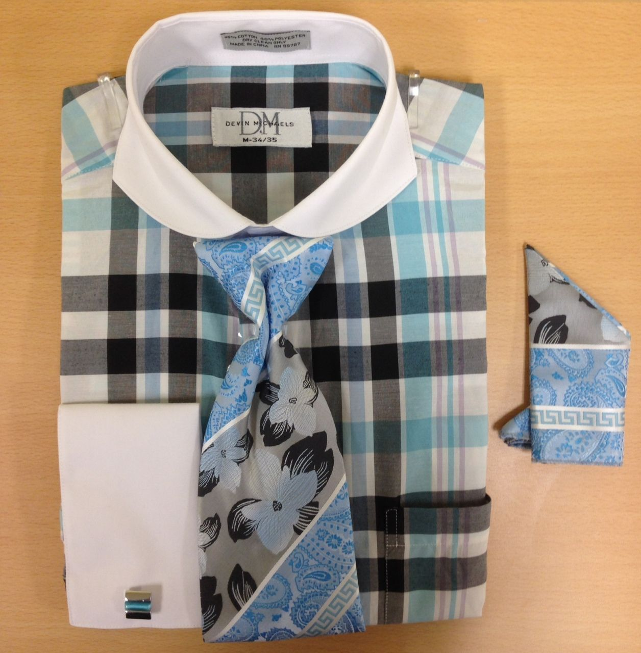 Men's Fashion Large/Small Checked Cufflink Dress Shirt Set - Turquoise/Black
