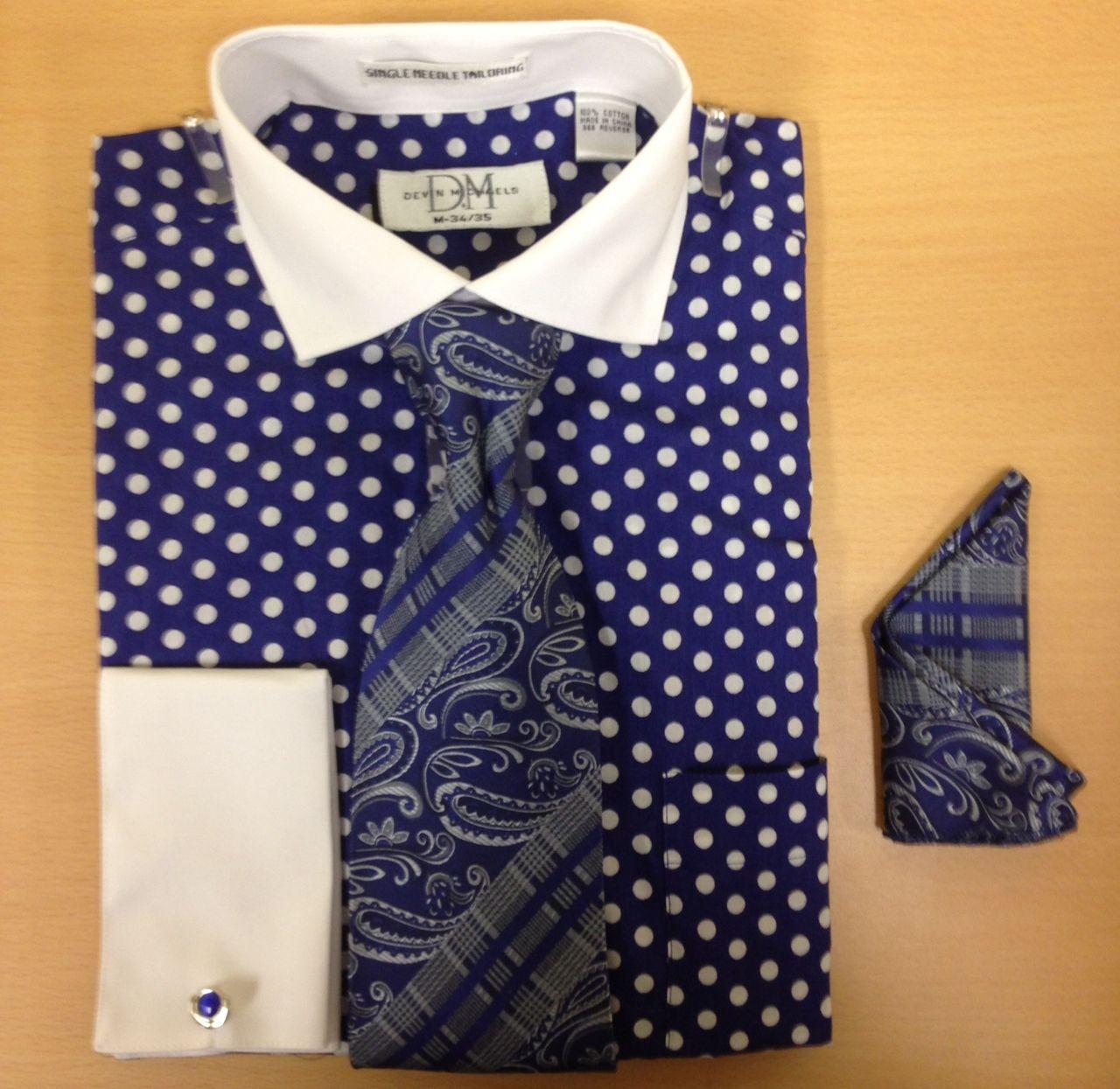 Men's Fashion Polka Dot Cufflink Dress Shirt Set - Navy/White