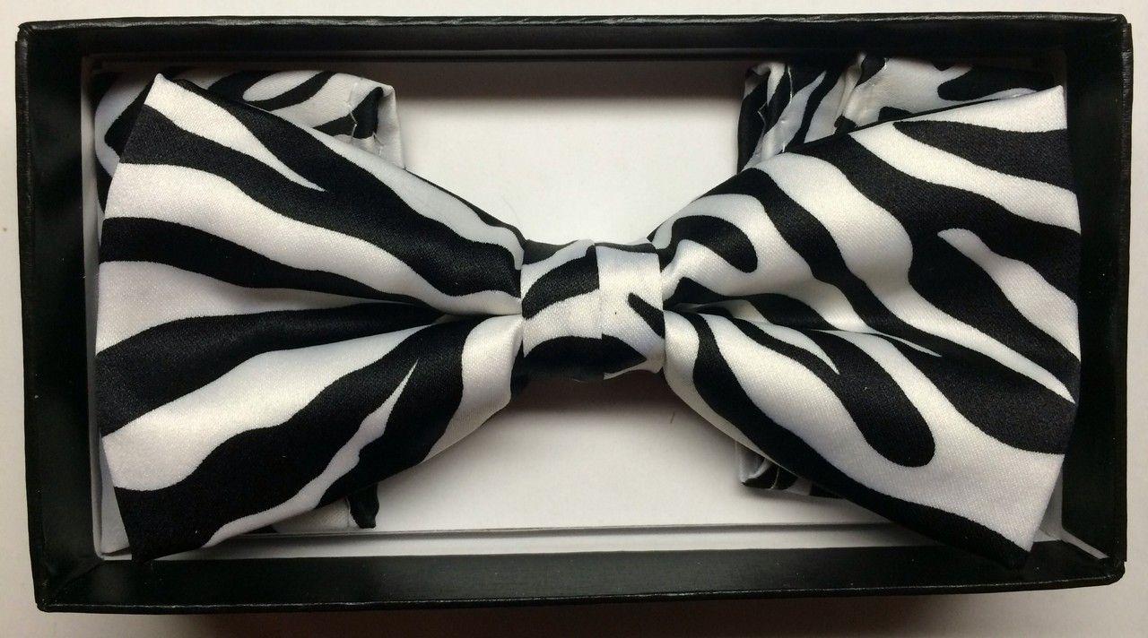 Men's Exotic Zebra Print Bow Tie + Hanky - White/Black