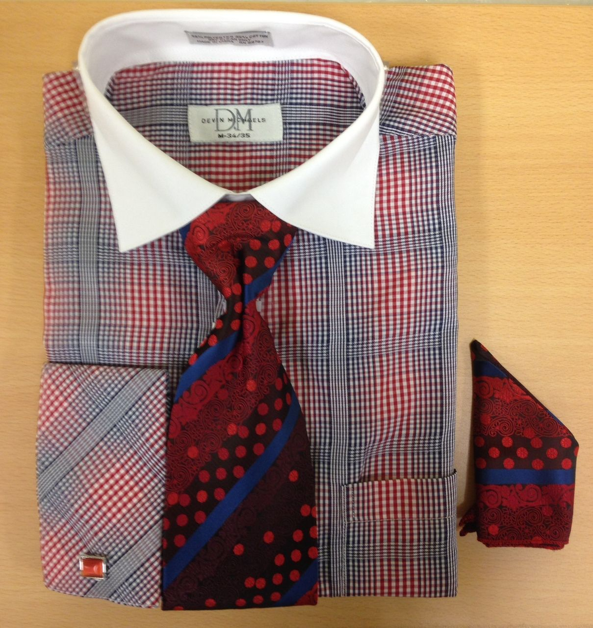 Men's Fashion Windowpane Checks Cufflink Dress Shirt Set - Red/Navy