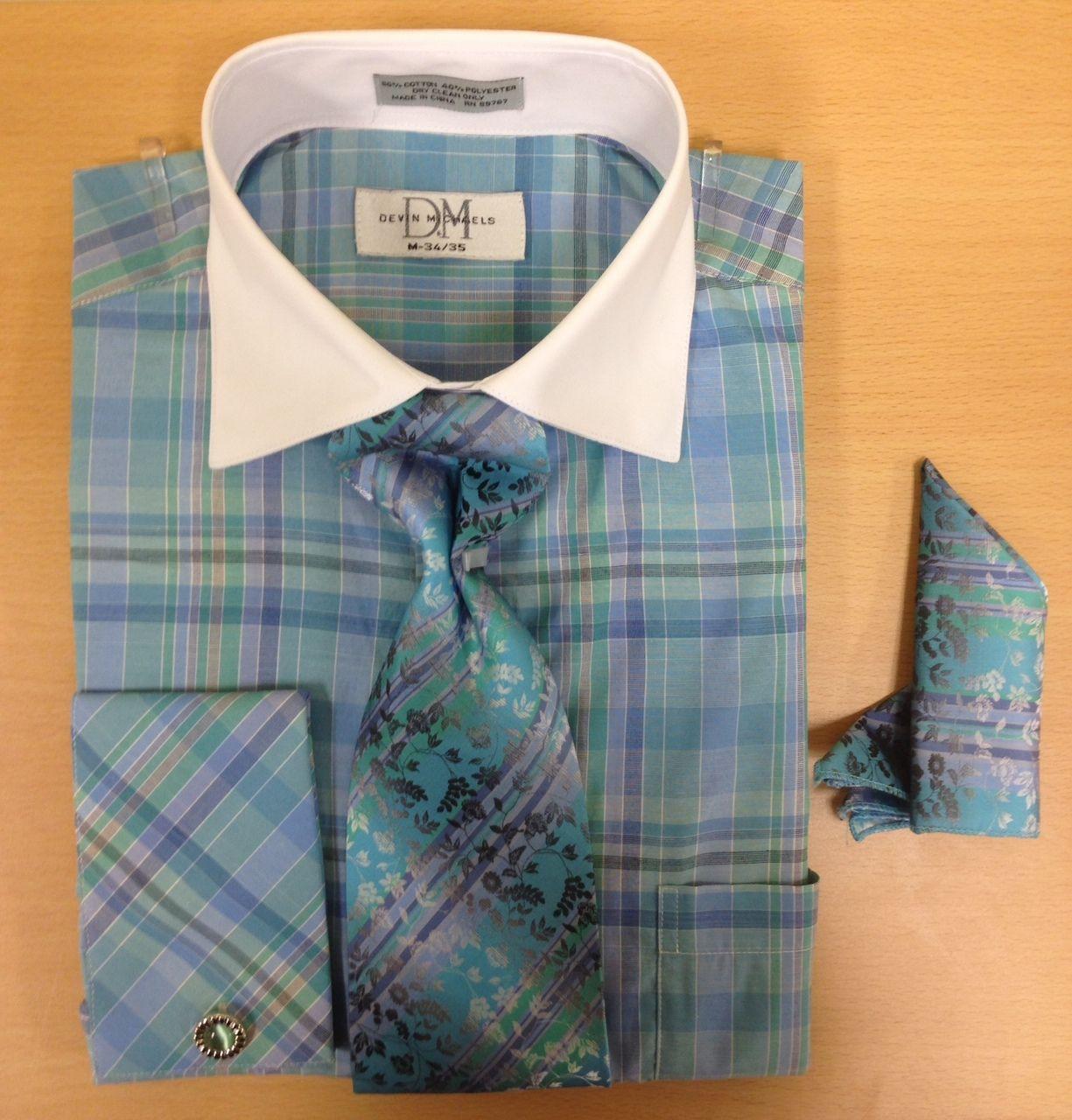 Men's Fashion All-Around Checked & Windowpane Print Cufflink Dress Shirt Set - Blue