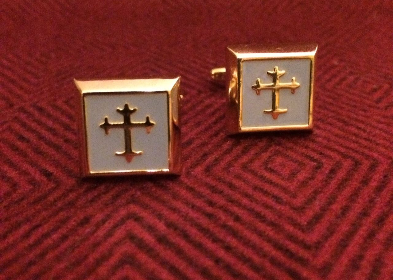 2 Pc. Gold Square Cufflinks w/ Silver Cover