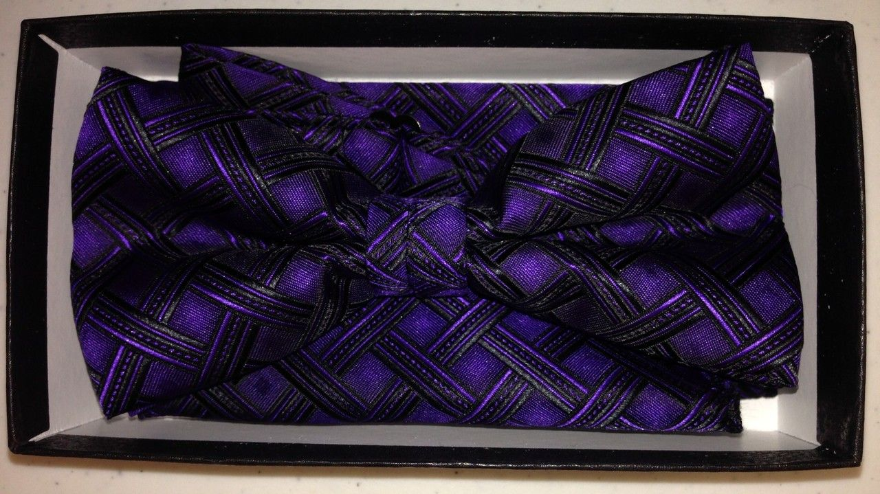 Men's Deluxe Fashion Bow Tie - Purple & Black