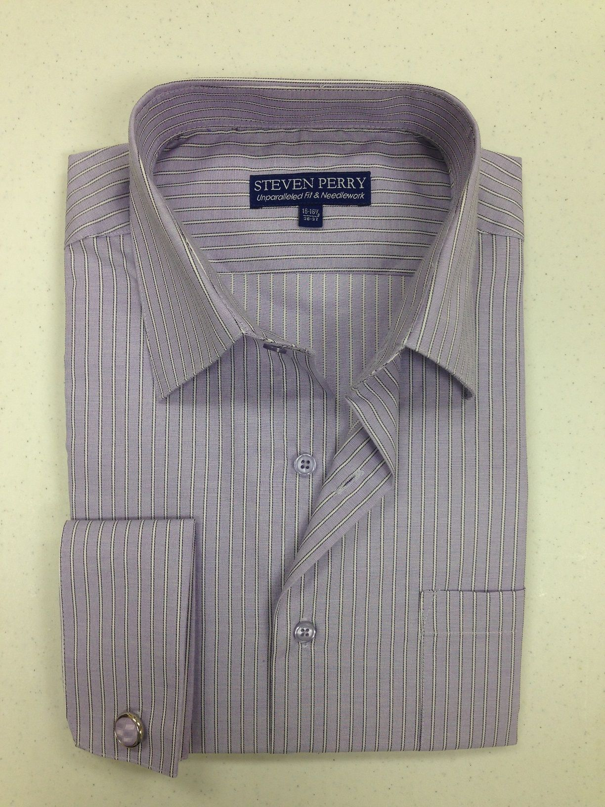 Steven Perry Woven Designer Shirt - Purple Stripes FREE CUFFLINKS