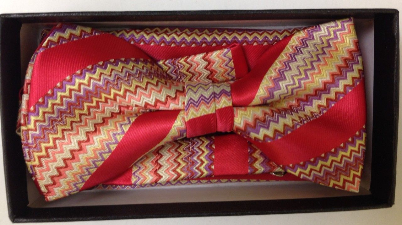 Men's Designer Unique Striped Bow Tie + Hanky - Crimson Red and Gold