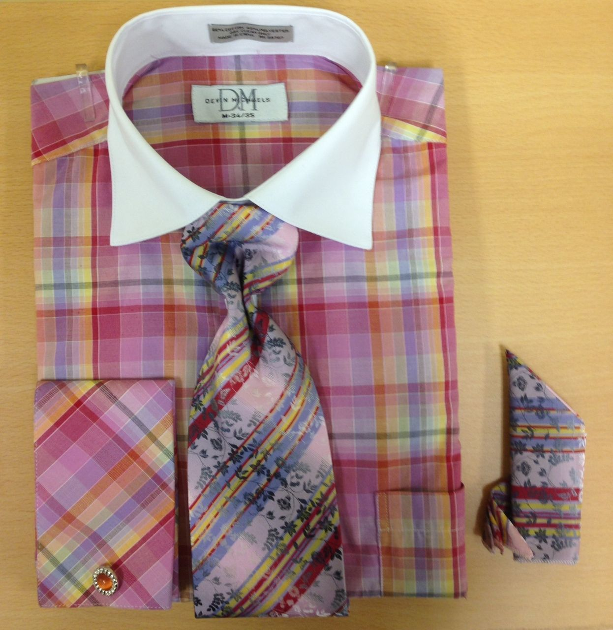Men's Fashion Madras Plaid Cufflink Dress Shirt Set - Pink/Gold