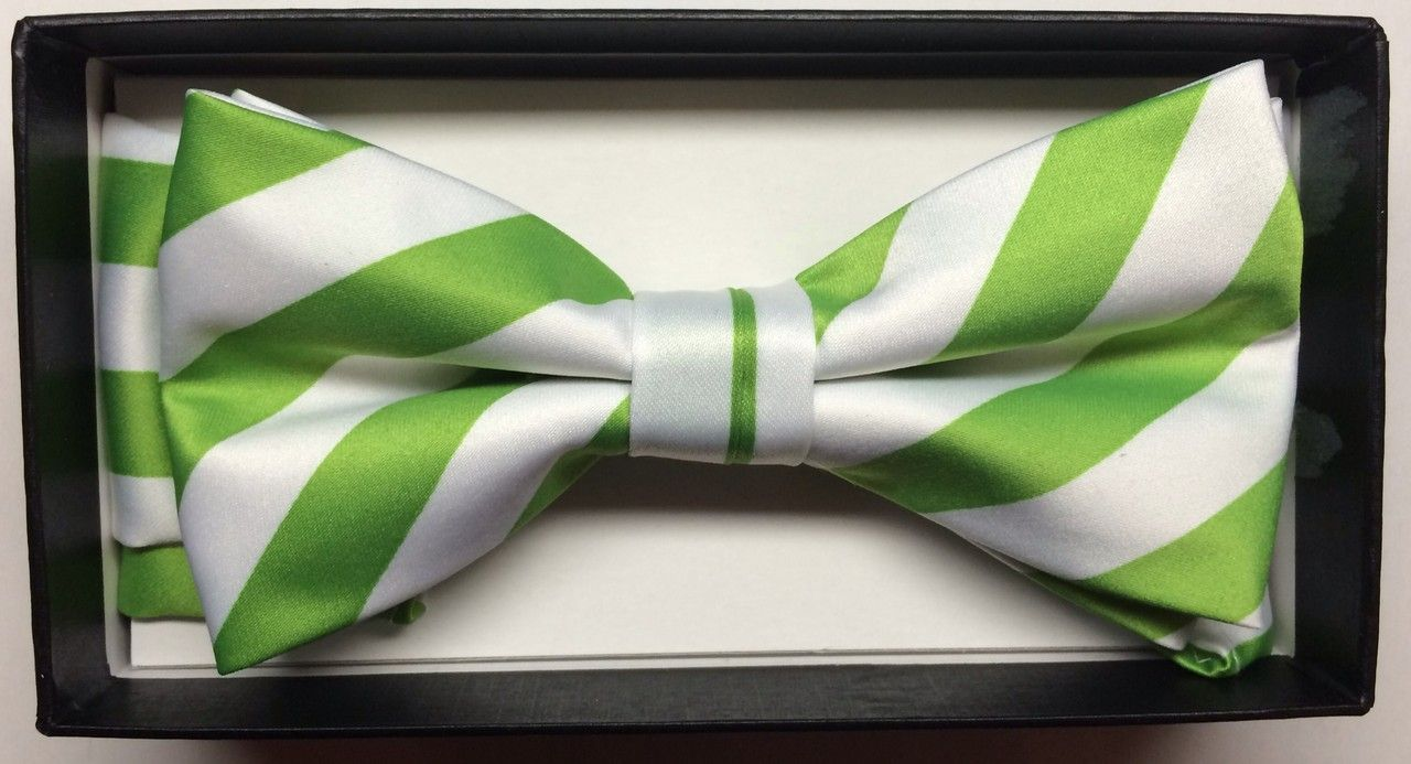Men's Diagonal Striped Bow Tie + Hanky - Martini & White