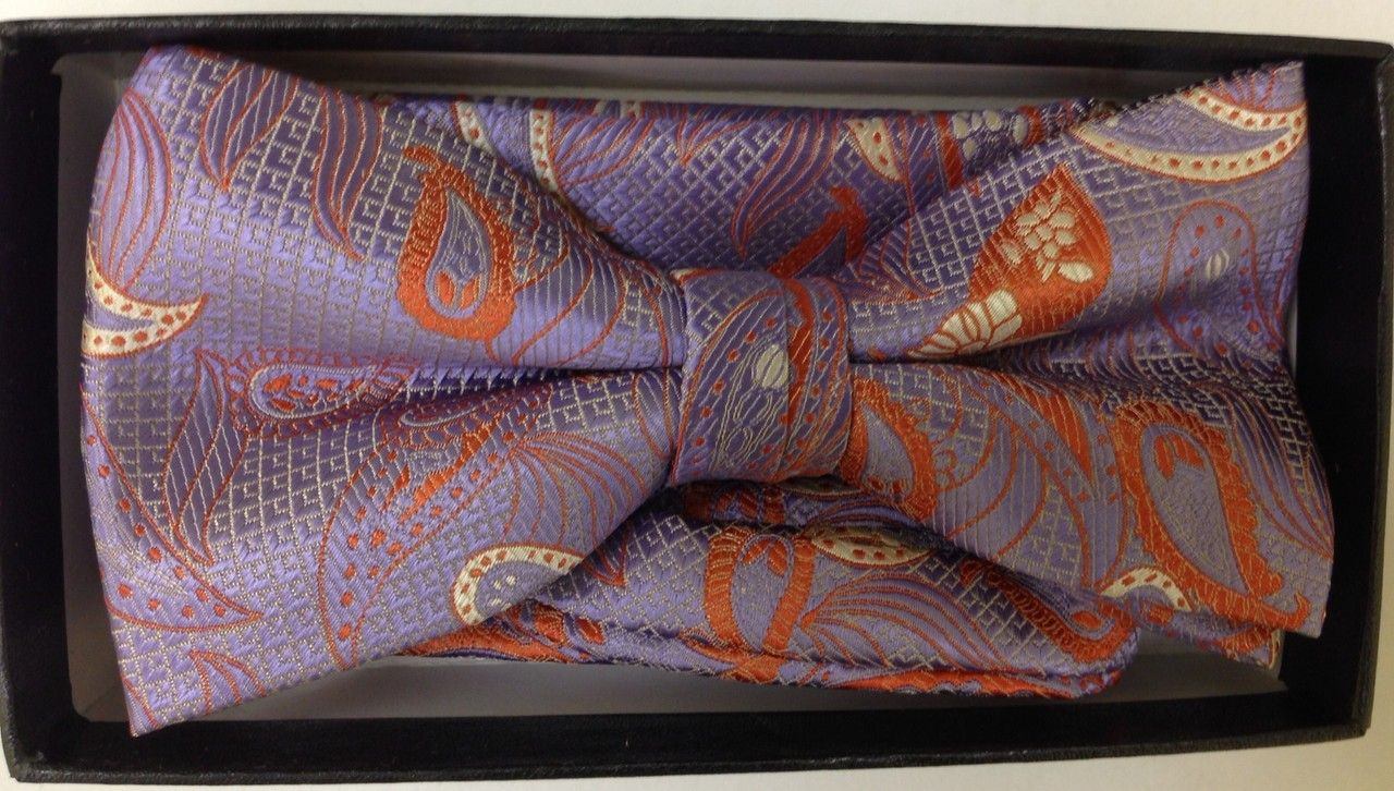 Men's Multi Paisley AND Checked Bow Tie - Purple/Gold/Rust