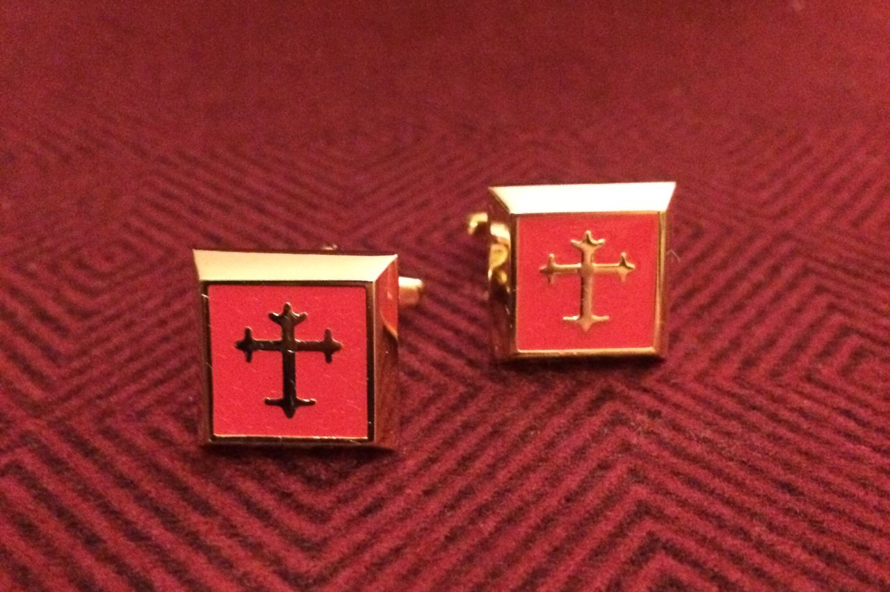 2 Pc. Gold Square Cufflinks w/ Red Cover