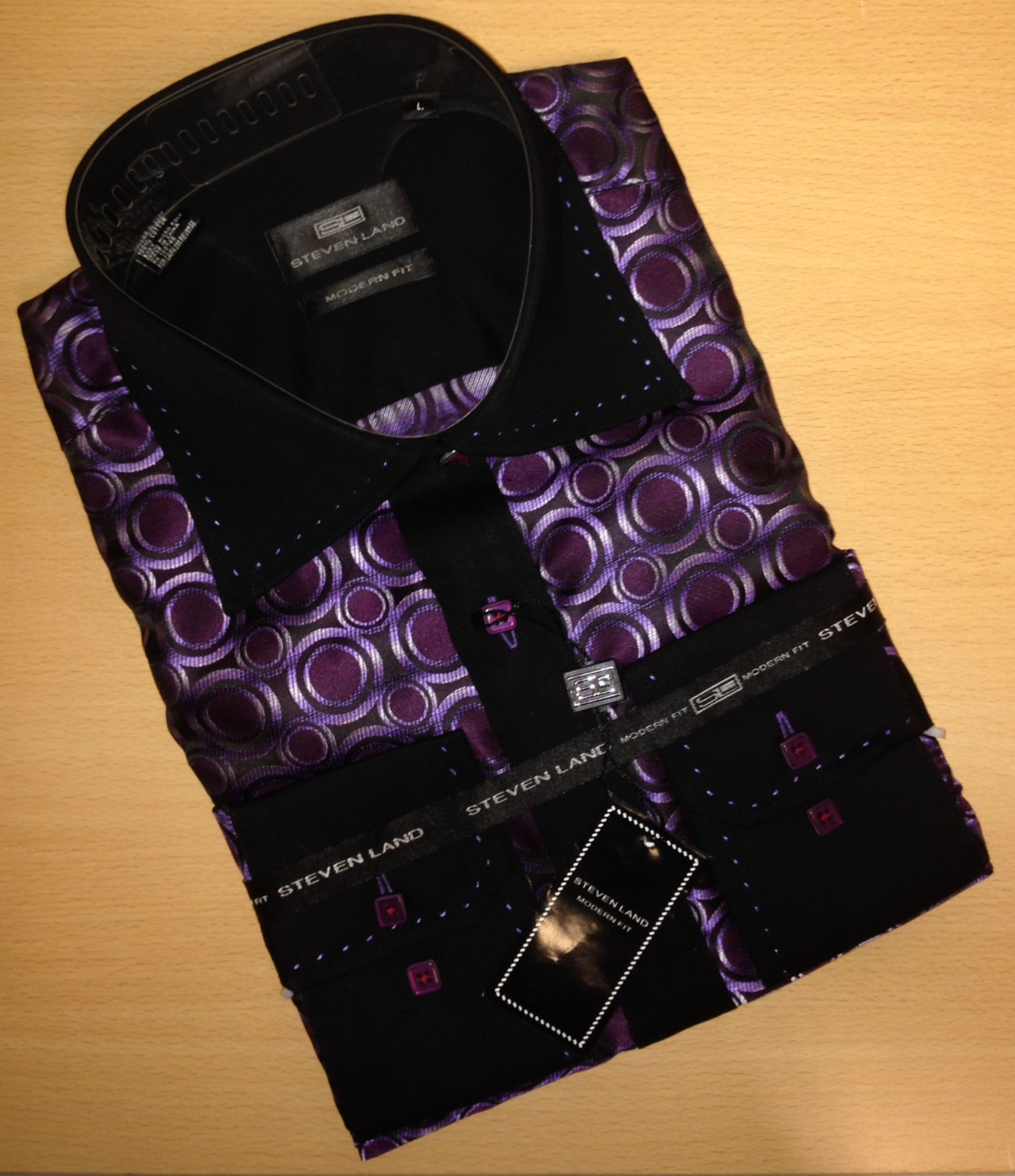 Men's Steven Land Two-Tone Big/Small Dot Sport Shirt - Purple