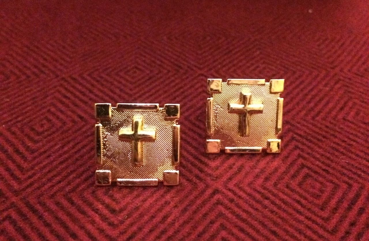 2 Pc. Gold Square Cufflinks w/ Gold Crosses