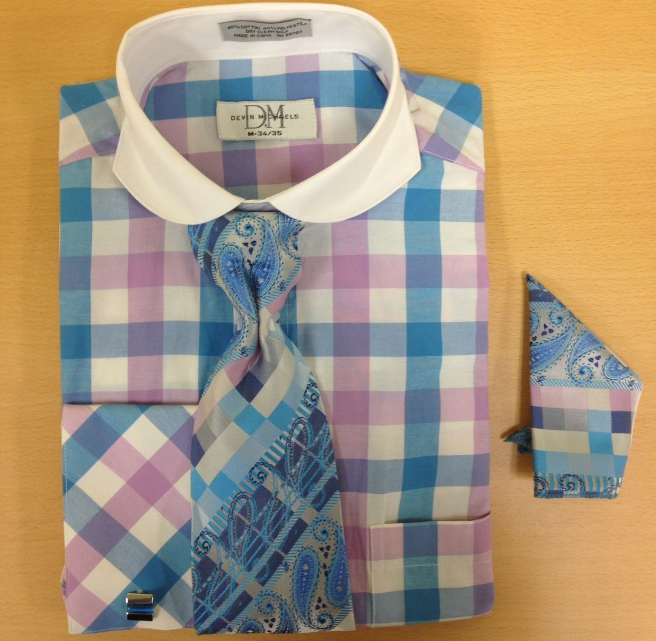 Men's Fashion Large Checked Squares Cufflink Dress Shirt Set - Blue and Pink