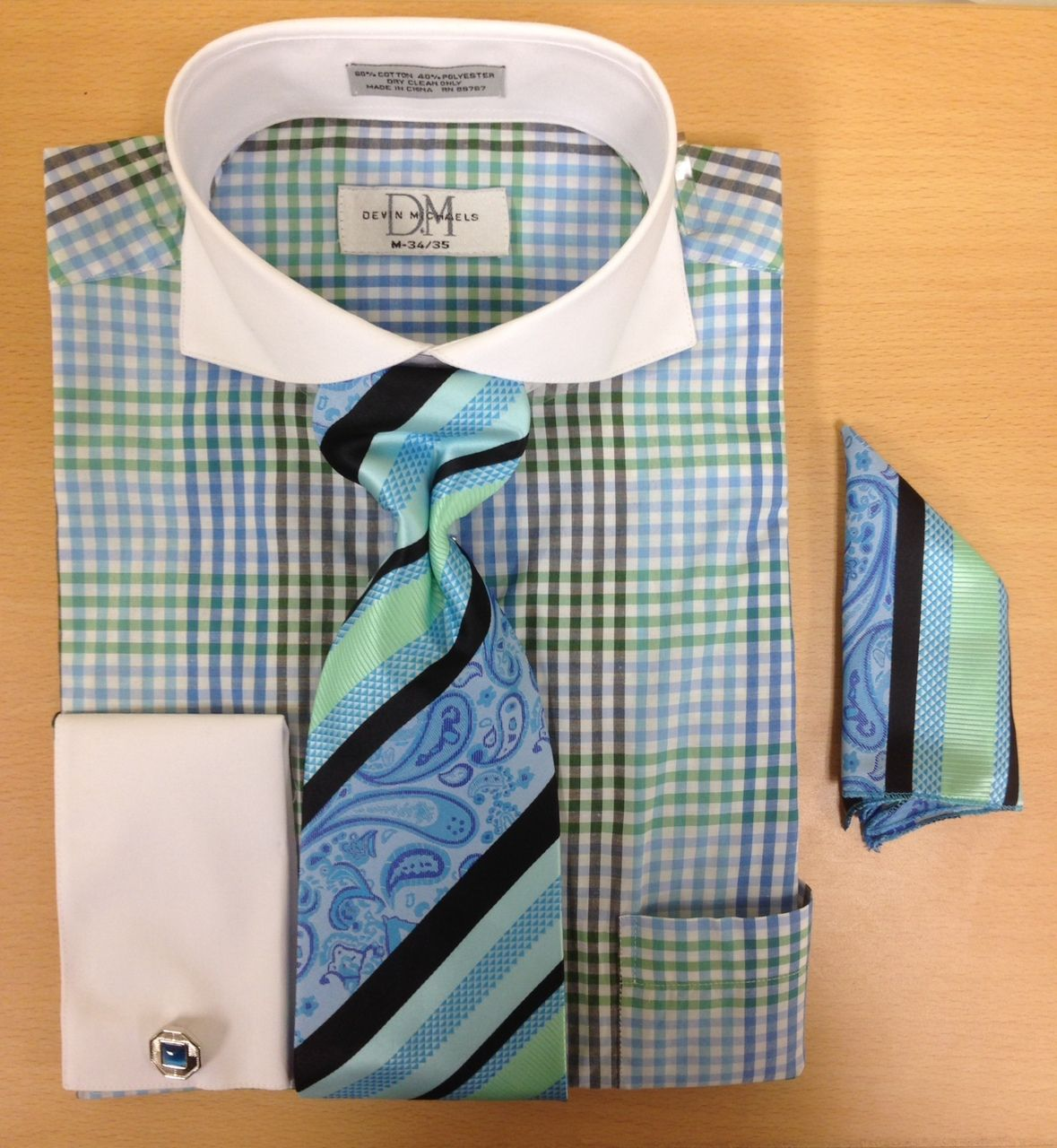 Men's Fashion Three-Tone Gingham Pattern Cufflink Dress Shirt Set - Blue/Green/Black