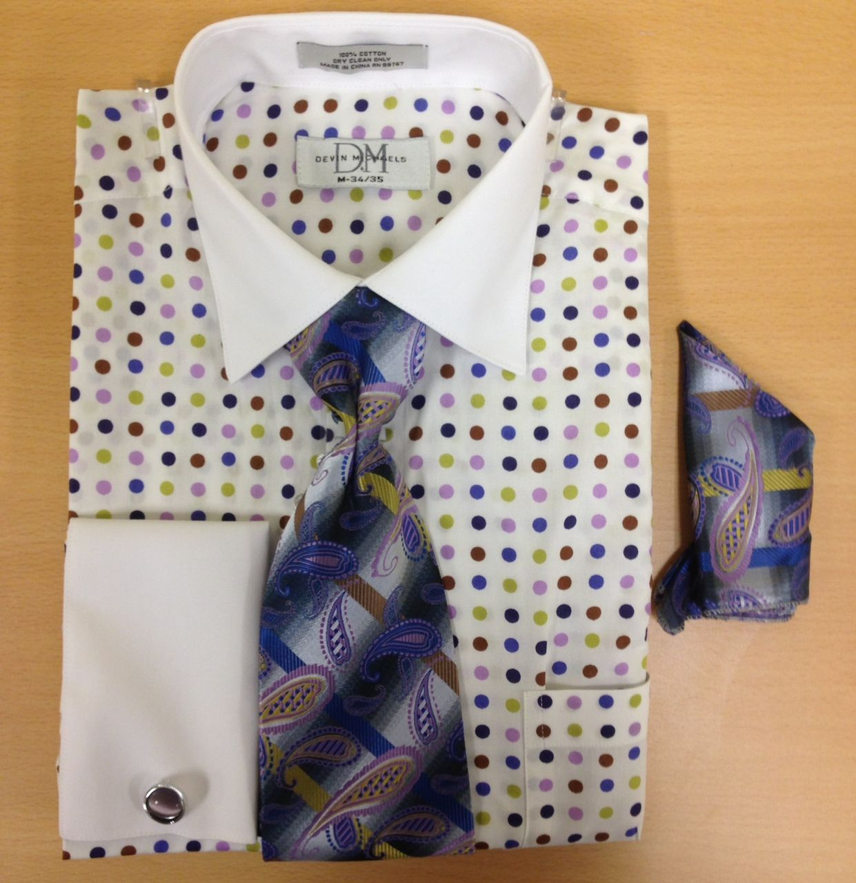 Men's Fashion Polka Dot Cufflink Dress Shirt Set - White/Lilac/Blue