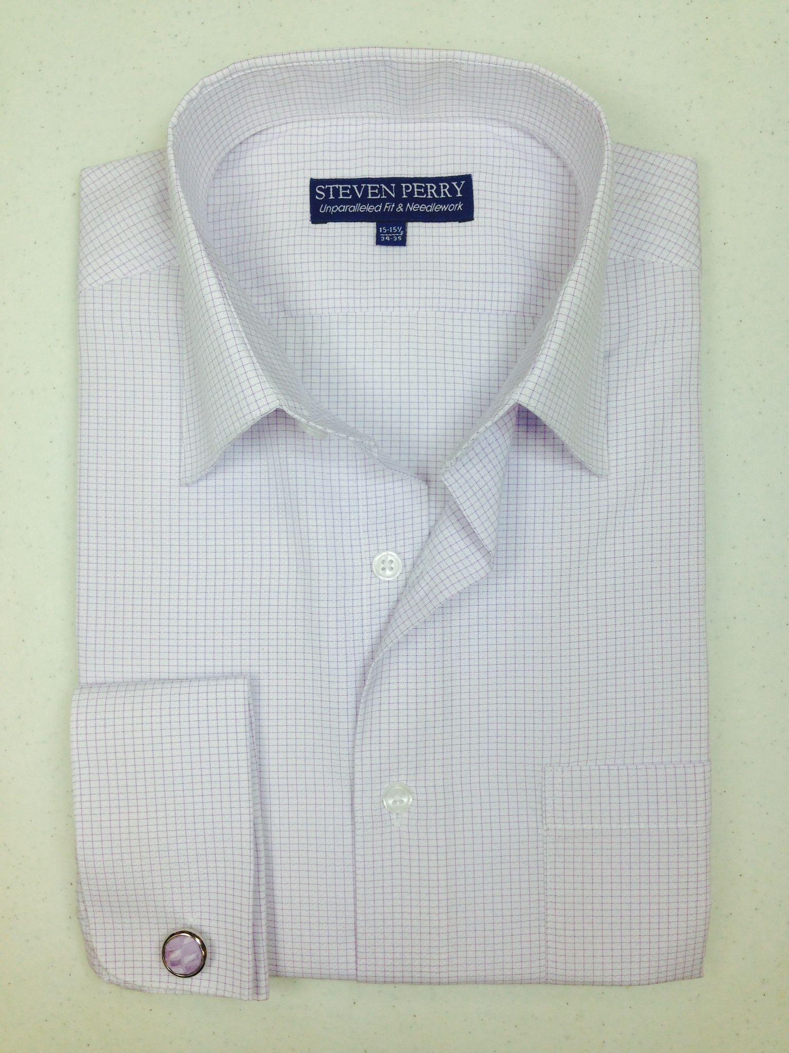 Steven Perry Woven Sport Shirt - White/Lilac FREE CUFFLINKS