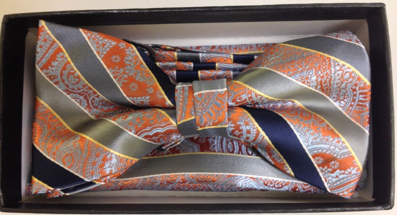 Men's Striped AND Paisley Bow Tie - Orange and Navy