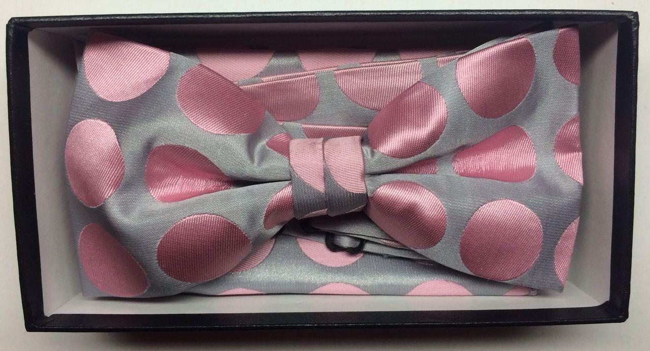 Men's Supreme© Polka Dot Bow Tie + Hanky - Silver & Pink