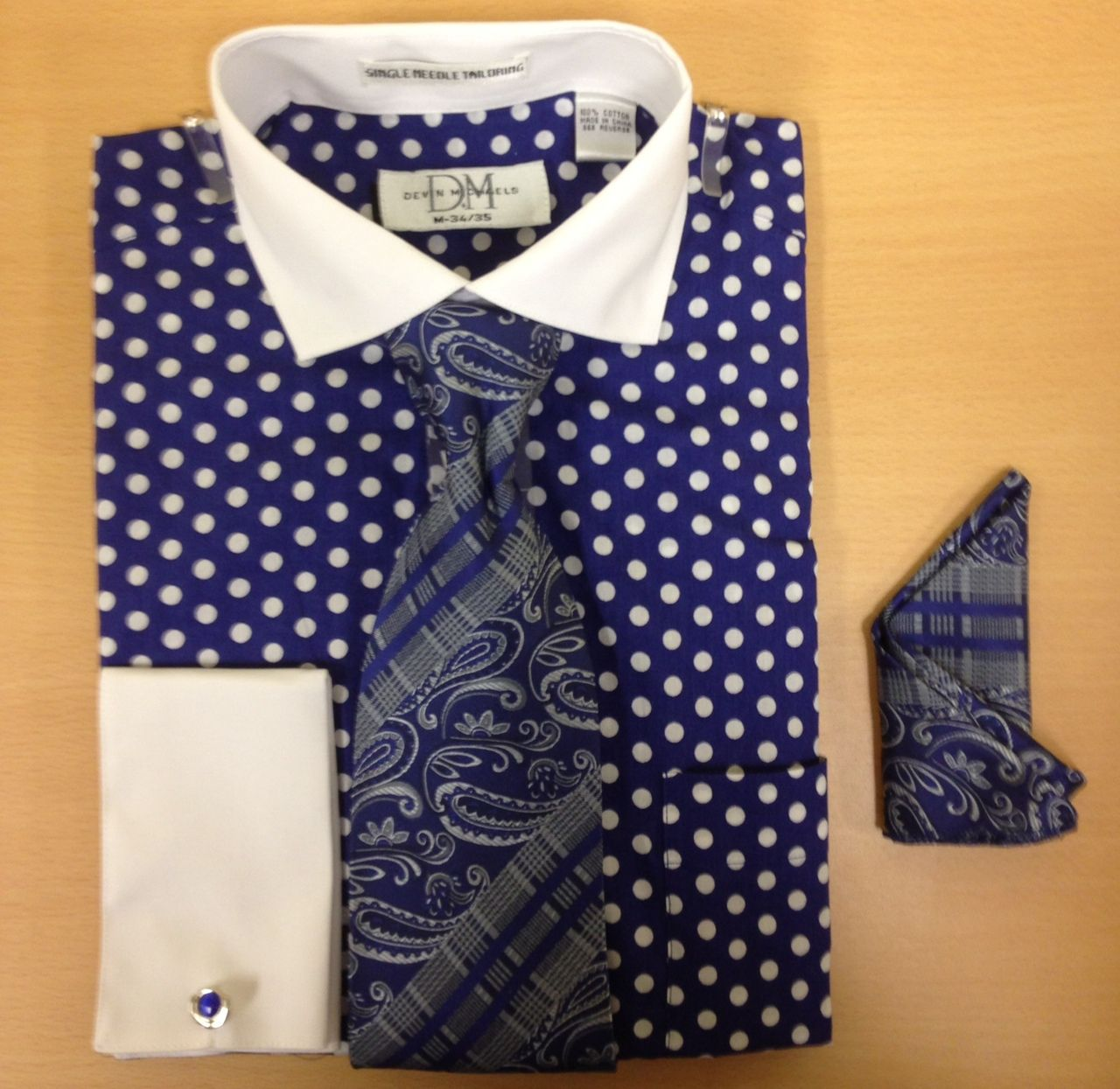Men's Fashion Polka Dot Cufflink Dress Shirt Set - Navy/White