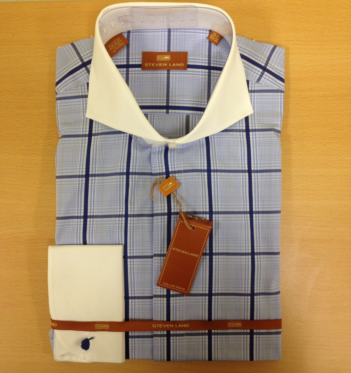 Men's Steven Land Windowpane Checked Dress Shirt - Blue