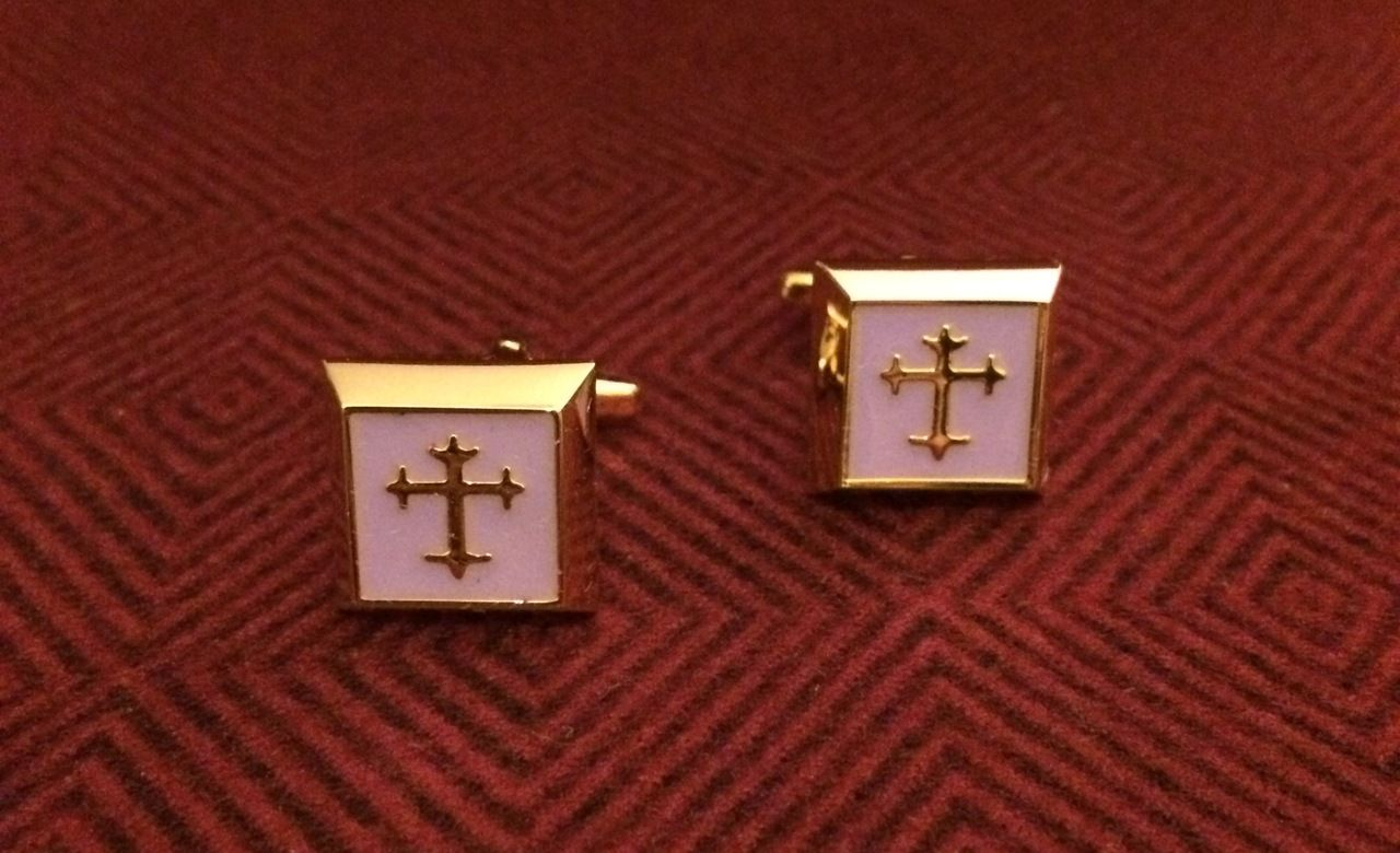 2 Pc. Gold Square Cufflinks w/ Lilac Cover