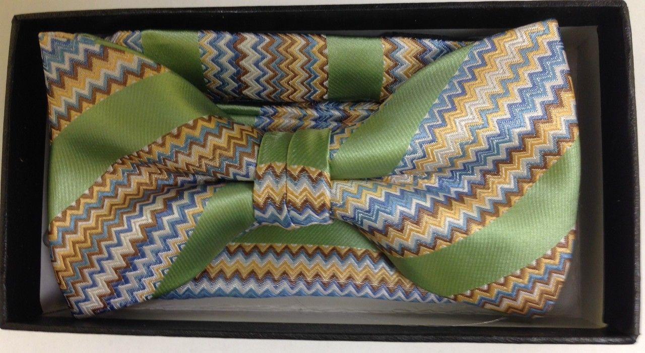 Men's Designer Unique Striped Bow Tie + Hanky - Martini Green and Gold