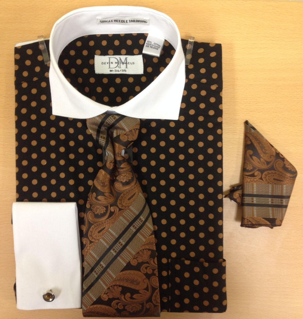 Men's Fashion Polka Dot Pattern Cufflink Dress Shirt Set - Black and Brown