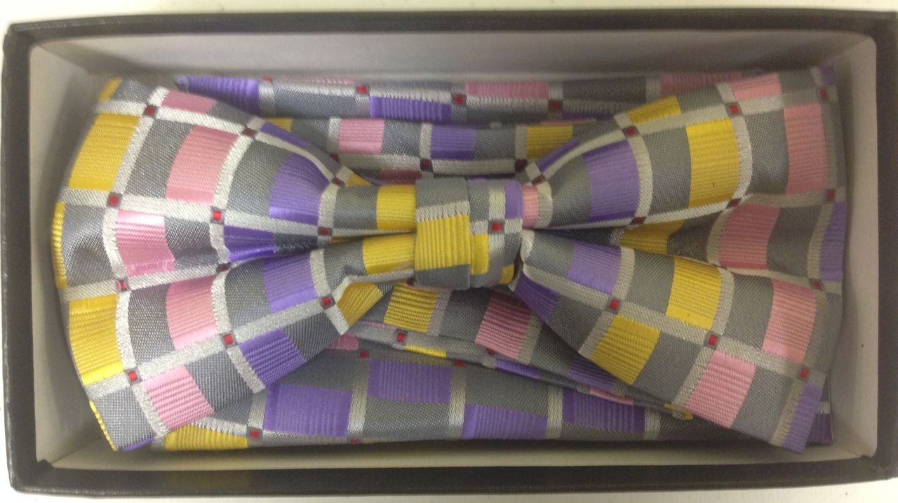 Men's Multicolor Xtreme Fashion Checked Bow Tie - Significant Silver