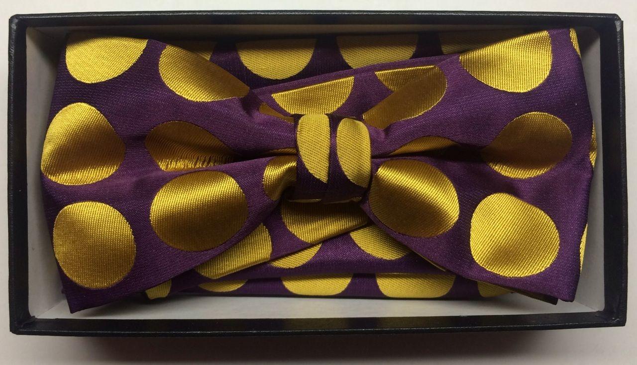 Men's Supreme© Polka Dot Bow Tie + Hanky - Purple & Gold