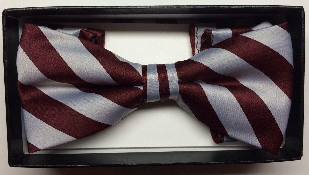 Men's Diagonal Striped Bow Tie + Hanky - Burgundy & Grey