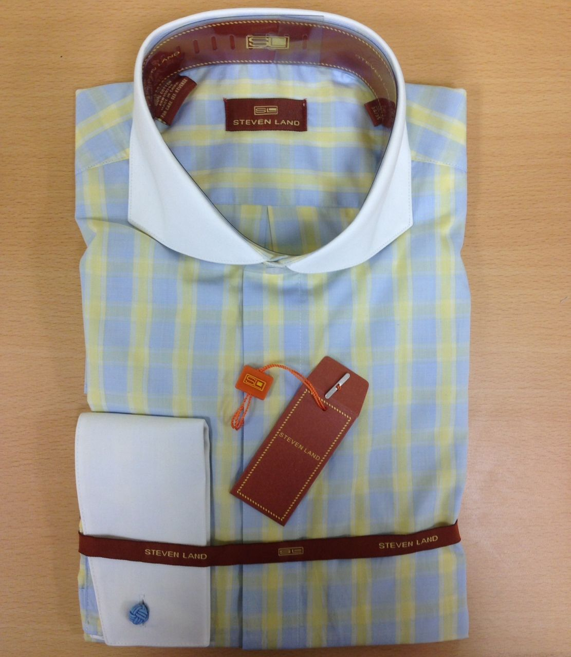 Men's Steven Land Elegant Large Checked Dress Shirt - Blue/Yellow