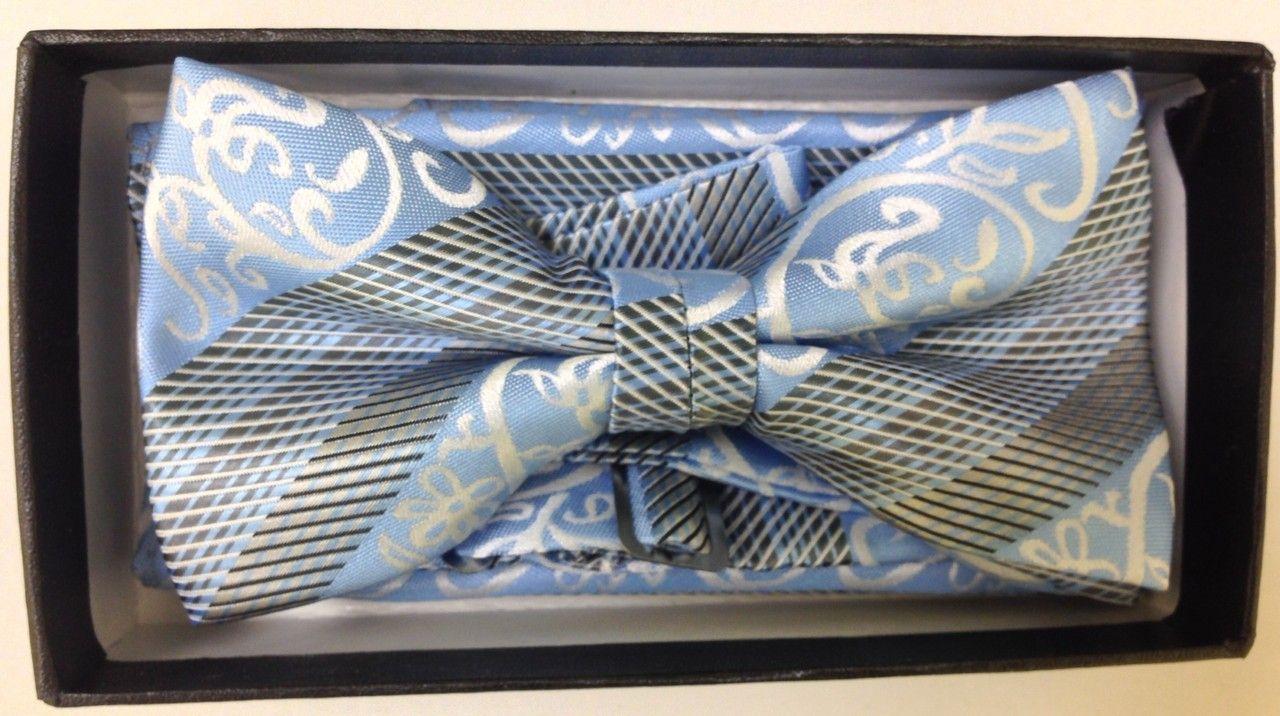 Men's Carolina Striped AND Checked Elegant Bow Tie - Carolina Blue and Black