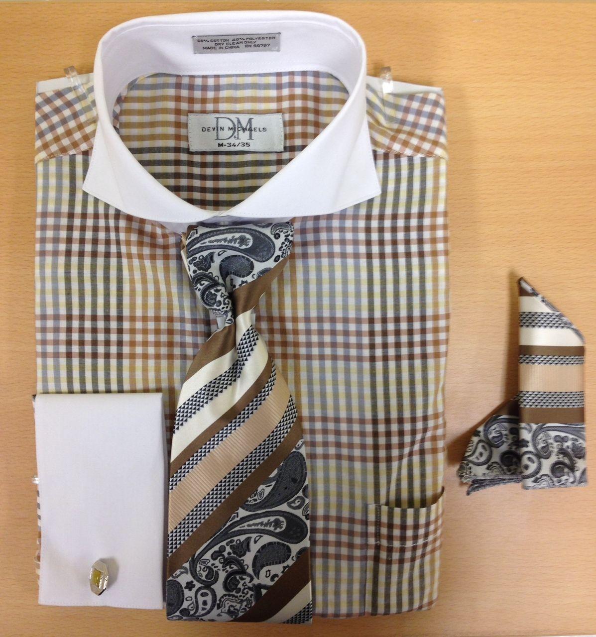 Men's Fashion Three-Tone Gingham Pattern Cufflink Dress Shirt Set - Brown/Silver/Tan