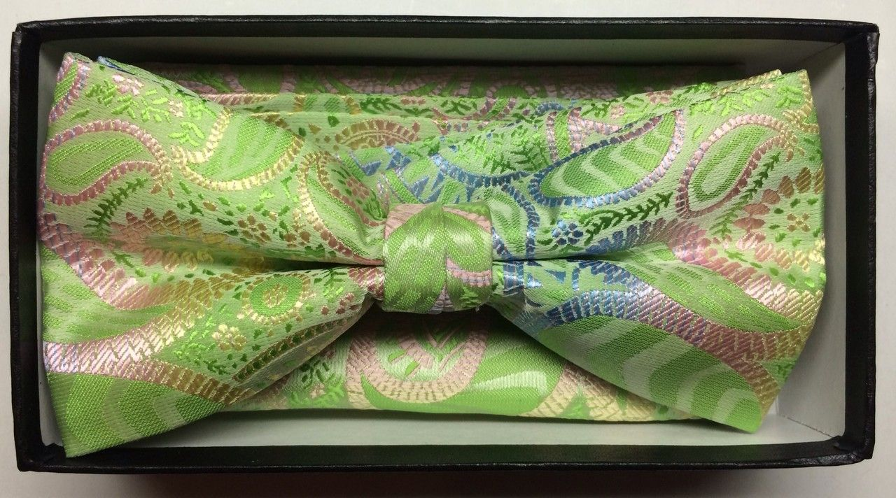 Men's Fashion Paisley Bow Tie + Hanky - Lime Green & Pink