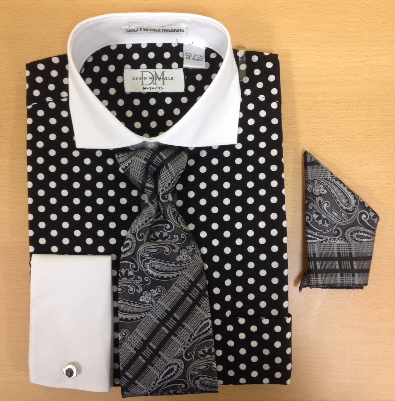 Men's Fashion Polka Dot Pattern Cufflink Dress Shirt Set - Black and White