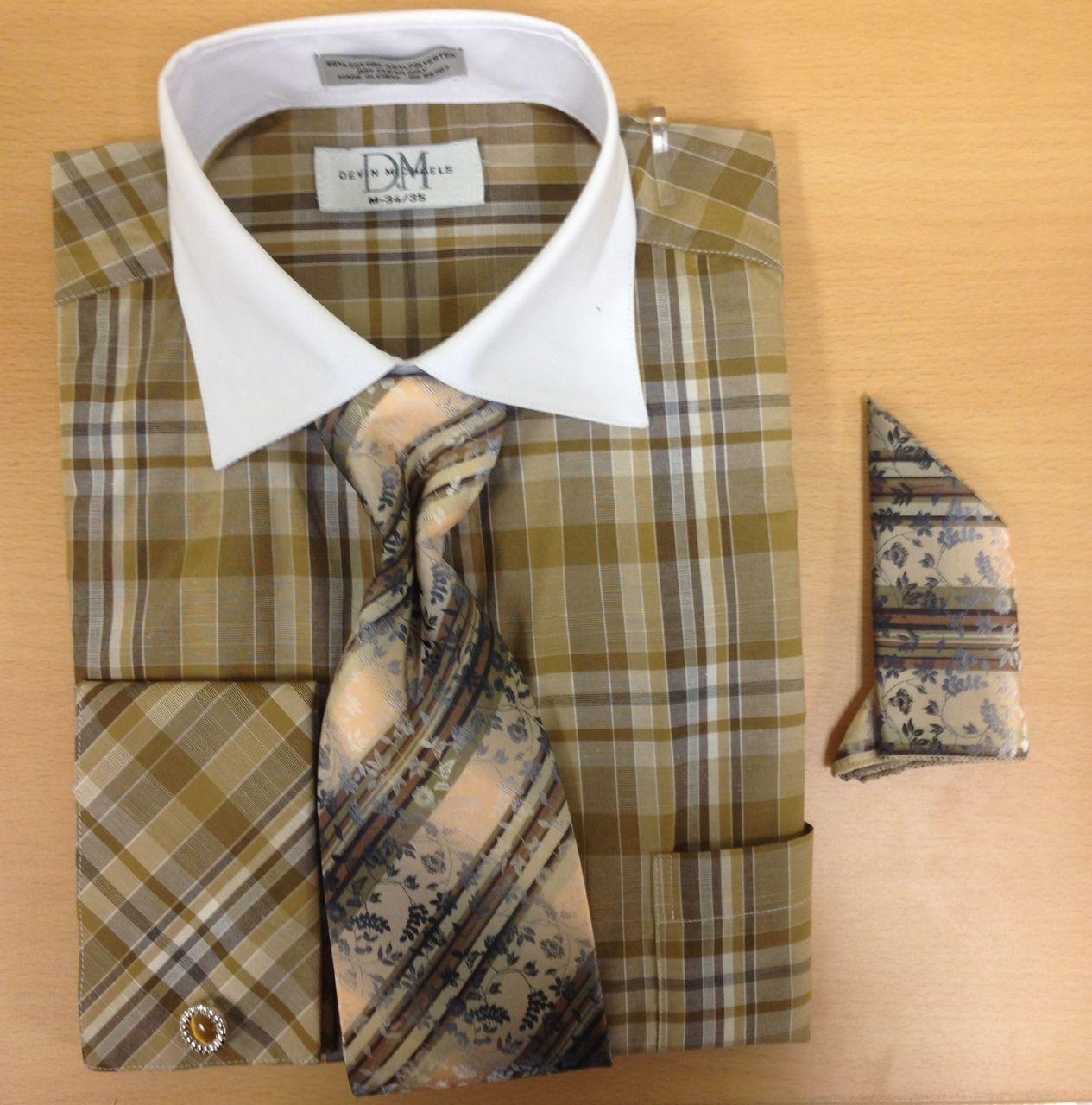 Men's Fashion All-Around Checked & Windowpane Print Cufflink Dress Shirt Set - Brown