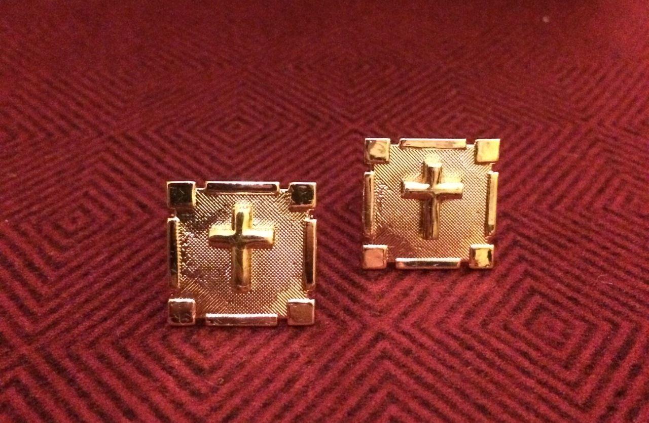 2 Pc. Gold Square Cufflinks w/ Gold Crosses