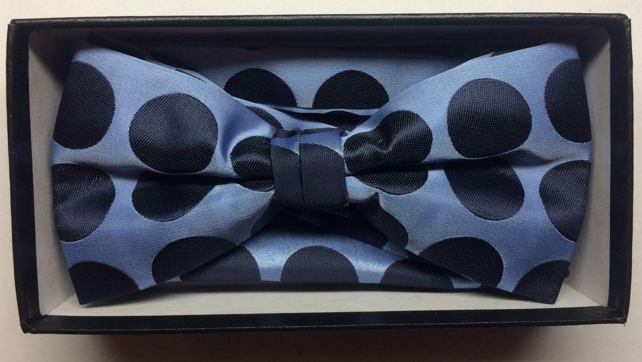 Men's Supreme© Polka Dot Bow Tie + Hanky - French Blue & Navy