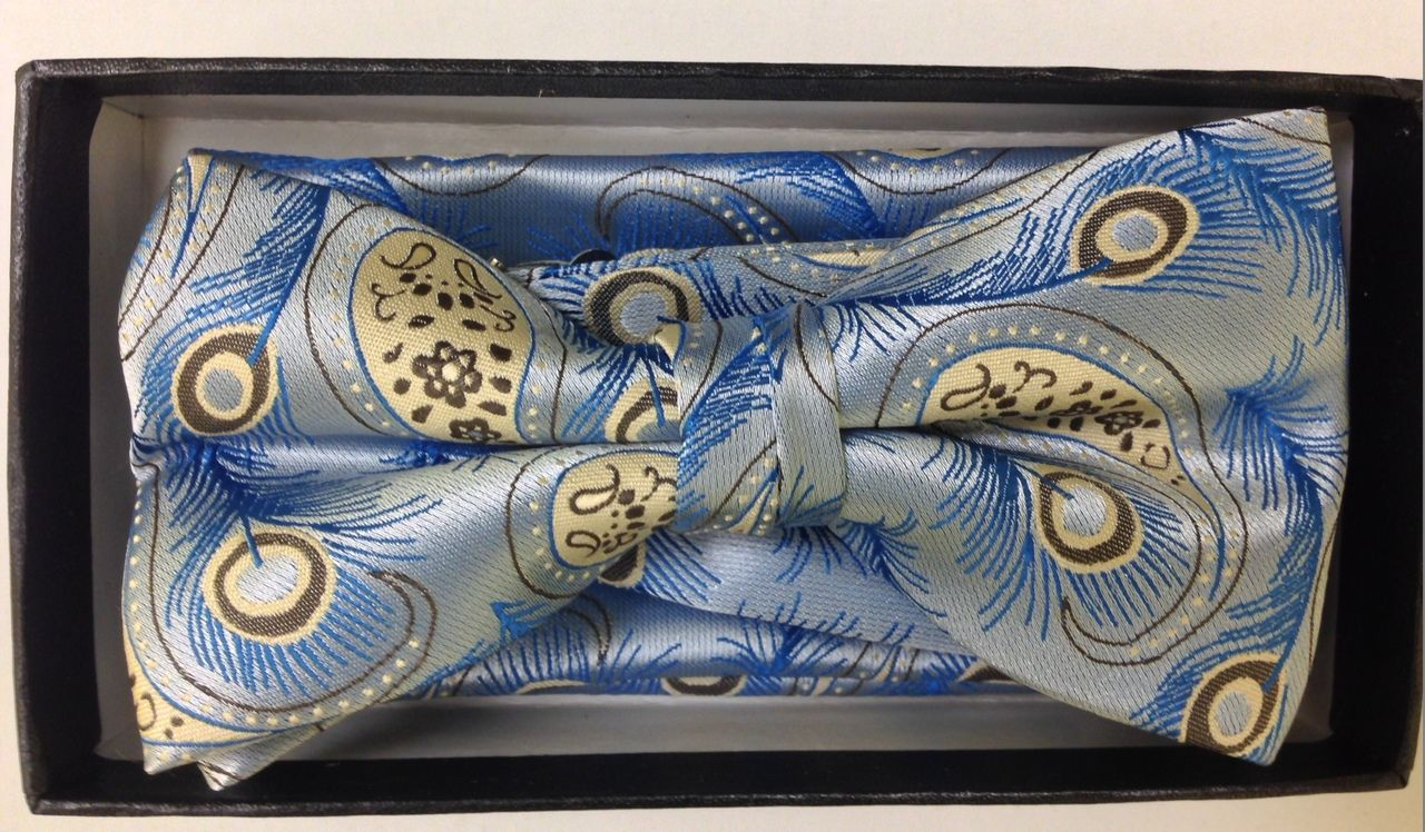 Men's Tropical Vaction Paisley Bow Tie - Sky Blue and Gold