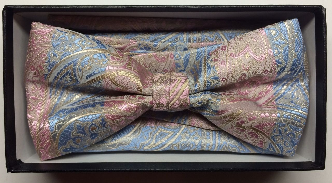 Men's Two-Tone Fashion Paisley Bow Tie + Hanky - Baby Blue & Pink