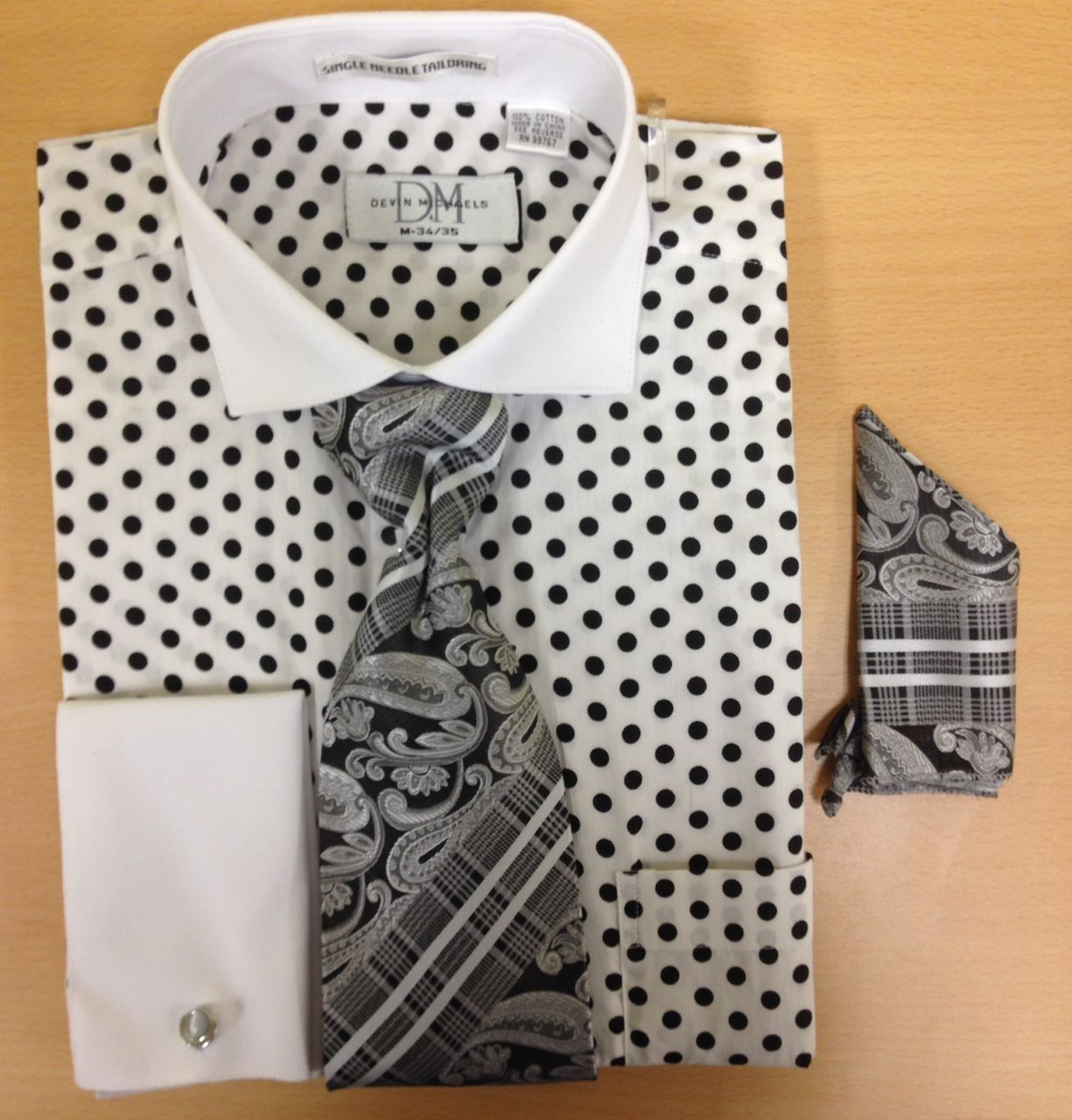 Men's Fashion Polka Dot Pattern Cufflink Dress Shirt Set - White and Black