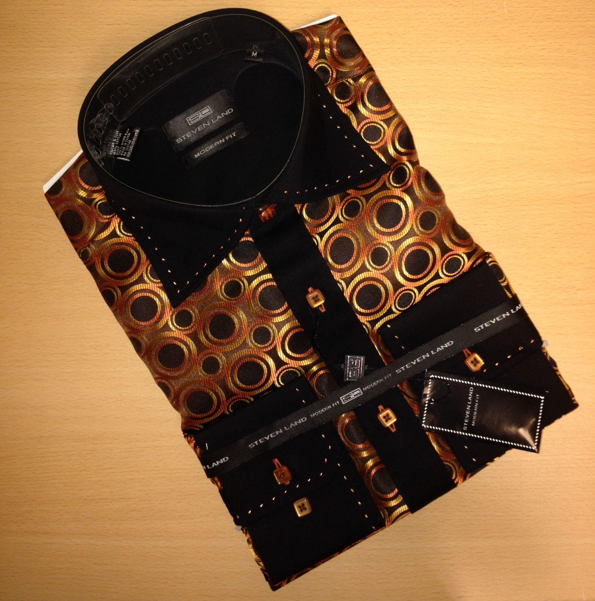 Men's Steven Land Two-Tone Big/Small Dot Sport Shirt - Cognac