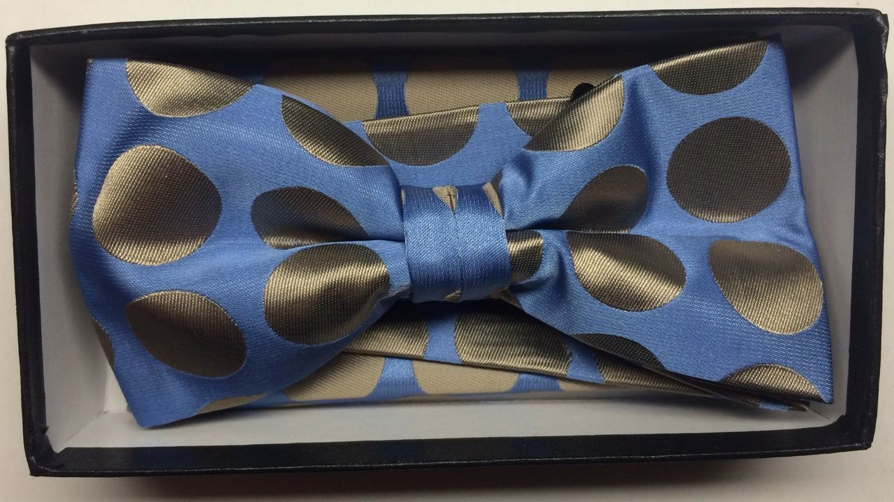 Men's Supreme© Polka Dot Bow Tie + Hanky - Sky Blue & Taupe