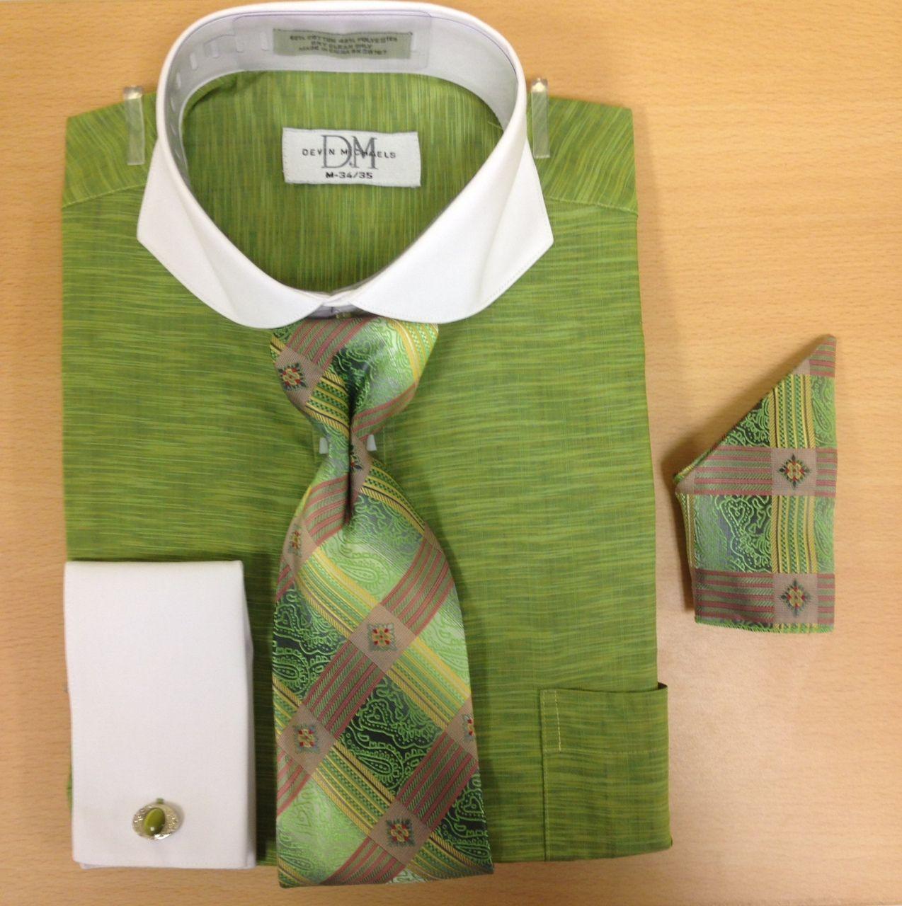 Men's Fashion Light Zigzag Pattern Cufflink Dress Shirt Set - Mint Green