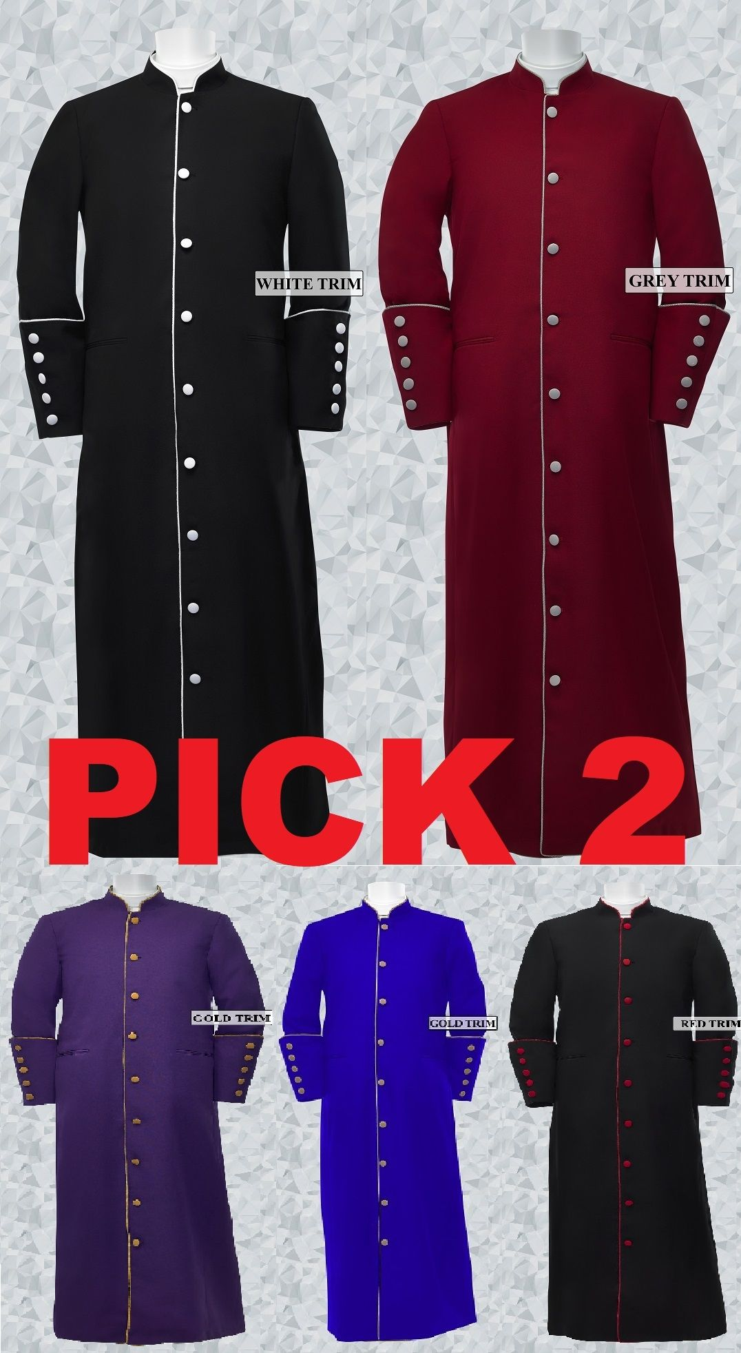 Pick 2- Women's Clergy/Pastor Robe Trim Robes