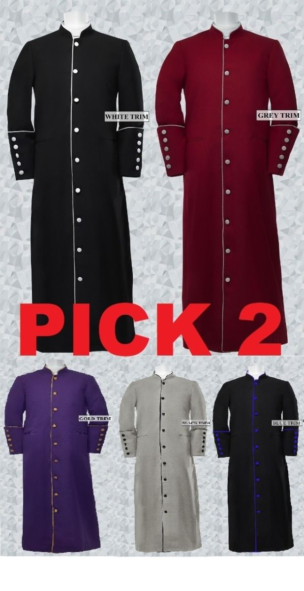 Pick 2- Men's Clergy/Pastor Robe Trim Robes